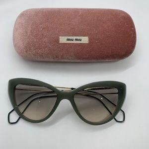 Miu Miu green gold cat eye sunglasses